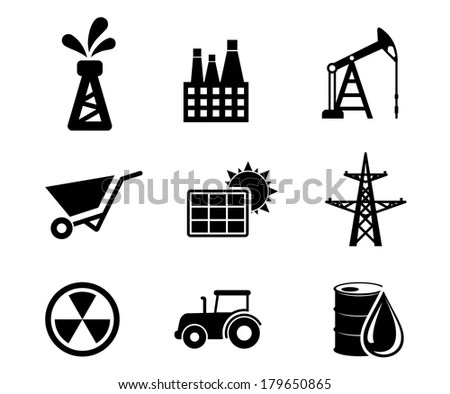 Set Black White Industrial Icons Logo Stock Vector