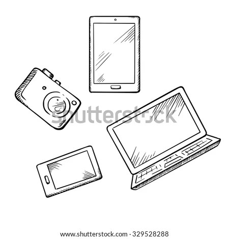 Sketch Modern Smartphone Tablet Pc Laptop Stock Vector