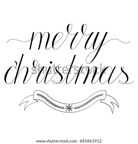 Merry Christmas Hand Written Calligraphy Greeting Stock