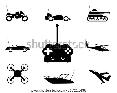 Black Remote Control Toy Icons Set Stock Vector 367211438