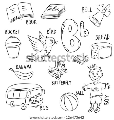 Set Sketches Cartoon Style Set Collected Stock Vector