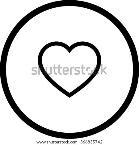 icon black white heart circle vector