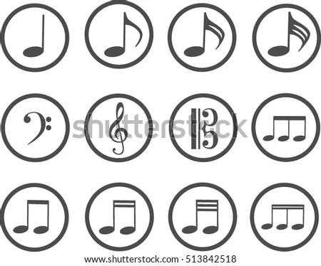 Grey Icons Music Treble Clef Bass Stock Vector (Royalty