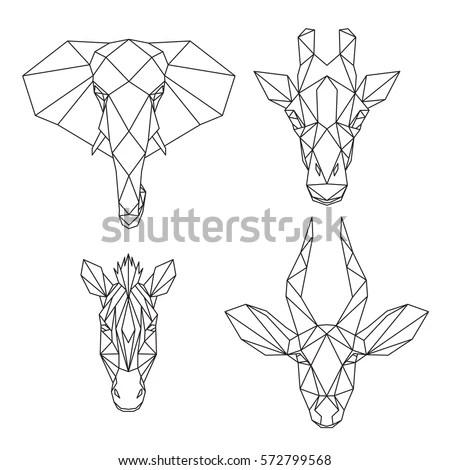 Set Geometric African Animals Abstract Polygonal Stock