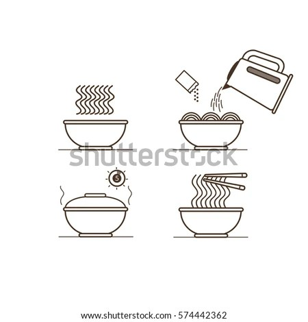 Pasta Cooking Directions Steps How Prepare Stock Vector