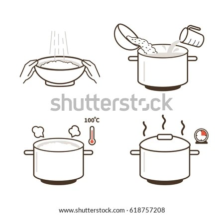 Rice Cooking Directions Steps How Prepare Stock Vector