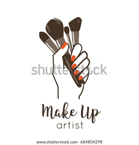 Make Artist Logo Template Line Style Stock Vector