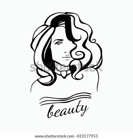 Beauty Female Face Logo Design Creative Stock Vector