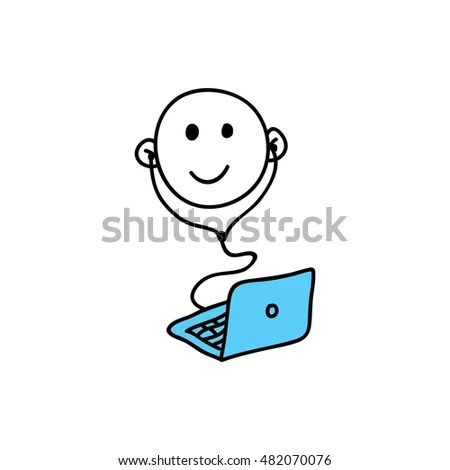 Chatbot Icon Cute Robot Working Behind Stock Vector