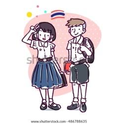 cartoon thai short vector illustration boy hair student uniform dressed shutterstock them preview carrying