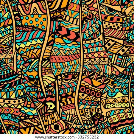 Colored Artistically Ethnic Pattern Handdrawn Ethnic Stock