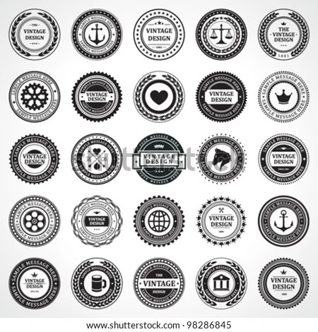 Vintage Style Retro Emblem Label Collection Stock Vector