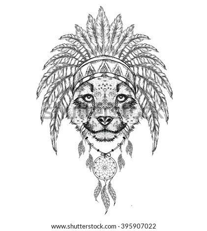 Detailed Lion Aztec Style Stock Vector 307080095