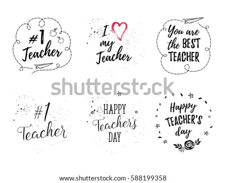 Happy Teachers Day Labels Greeting Cards Stock Vector
