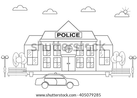 Linear Flat Police Station Linear Police Stock Vector