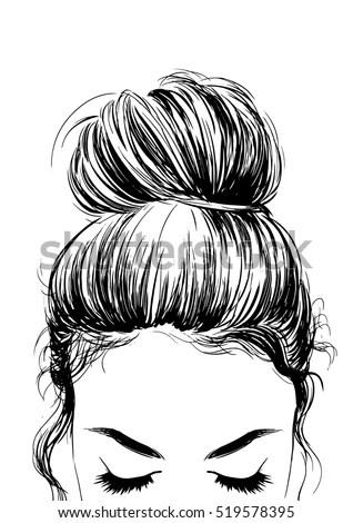 Girl Cute Bun Hairstyles Stock Vector (Royalty Free