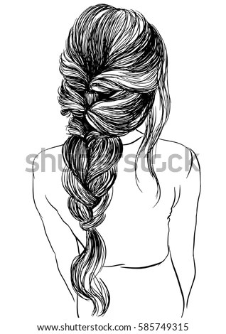 Woman Unique Braided Hairstyles Stock Vector 585749315