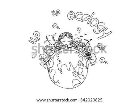 Ecology Green World Concept Hand Drawing Stock Vector
