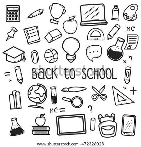 Set Back School Doodle Icons Vector de stock472326028