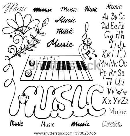 Vintage Musical Background Piano Musical Notes Stock
