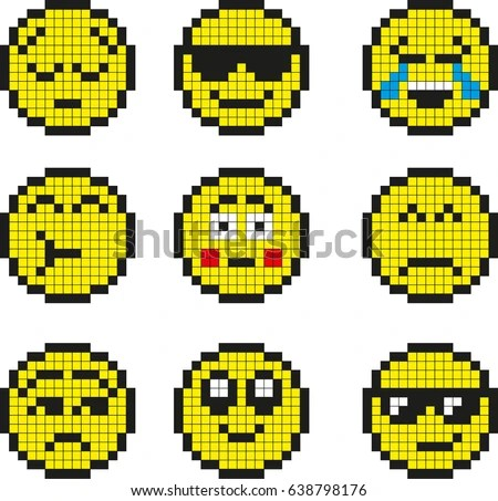 Set Vector Simple Yellow Pixel Smiley Stock Vector