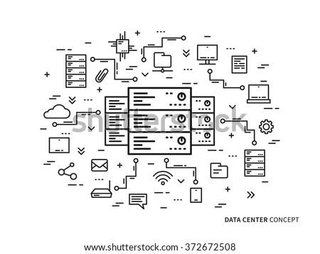 Linear Data Center Server Park Hosting Stock Vector
