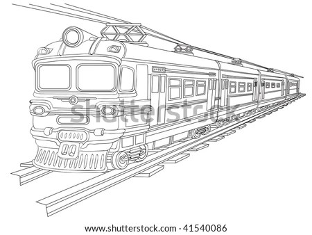 Vector Drawing Tram Stylized Engraving Stock Vector