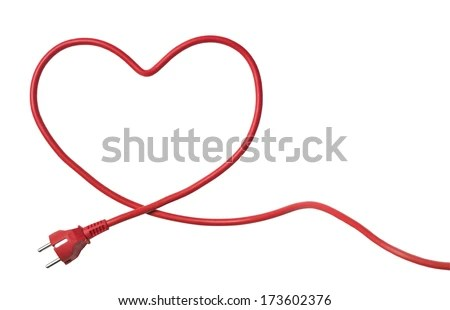 Heartshaped Power Cable isolated on white background - stock photo