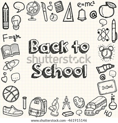 Back School Doodle Set Hand Draw Stock Vector 464626688
