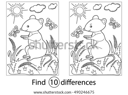 Find Differences Education Game Children Mousecoloring