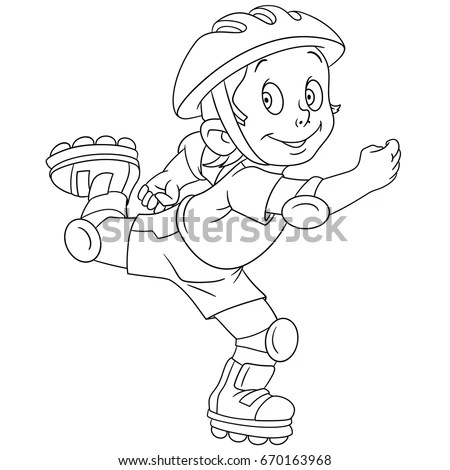 Coloring Page Cartoon Boy Roller Skating Stock Vector