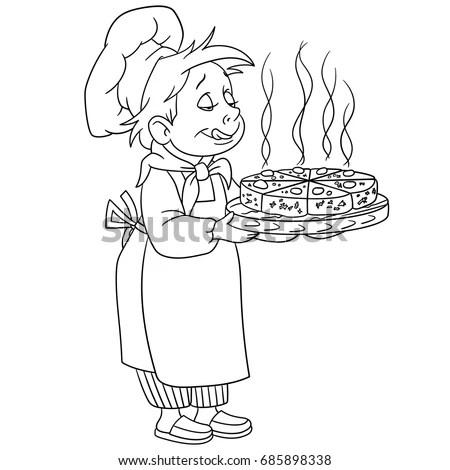 Coloring Page Cartoon Chief Cook Coloring Stock Vector
