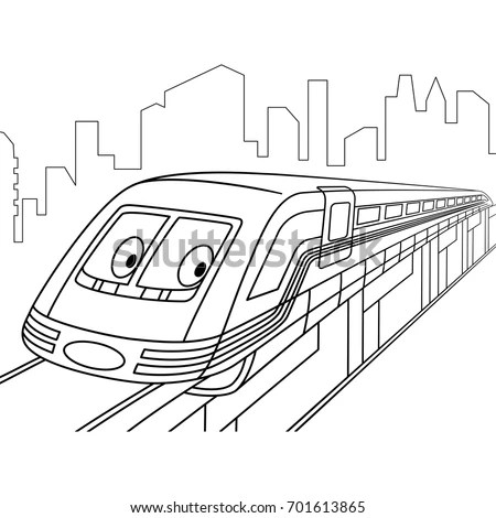 Coloring Page High Speed Electric Train Stock Vector