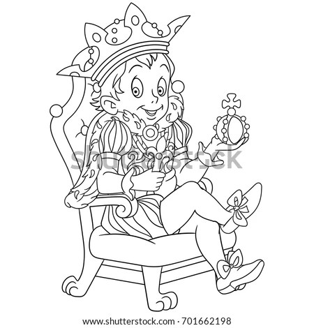 Coloring Page Cartoon Young King Prince Stock Vector
