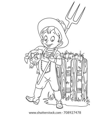 Coloring Page Cartoon Farmer Pitchfork Pig Stock Vector