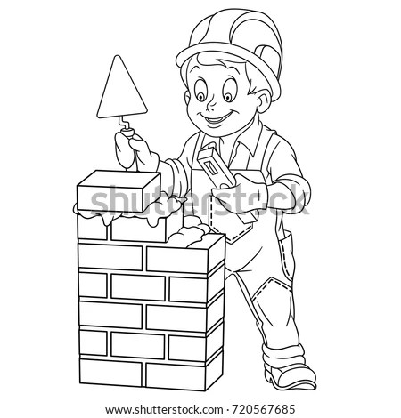 Coloring Page Builder Trowel Level Tool Stock Vector