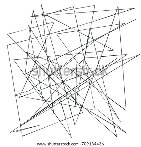 Monochrome Random Chaotic Edgy Lines Abstract Stock Vector