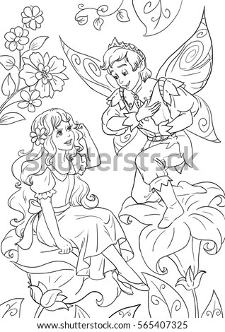 Coloring Page Thumbelina Flowerfairy King Stock