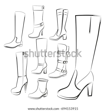 Womens Boots Set Hand Drawing High Stock Illustration