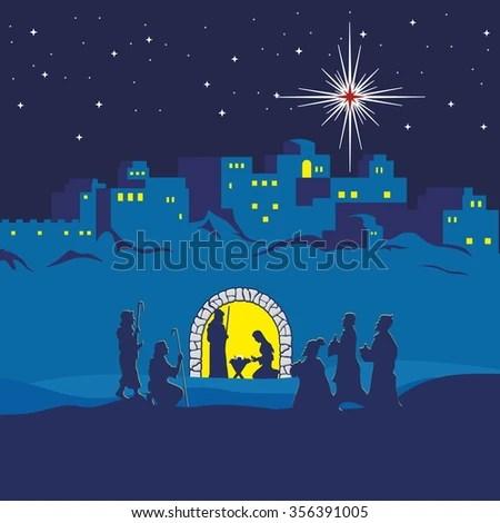Nativity Scene Christmas Bethlehem Mary Joseph Stock