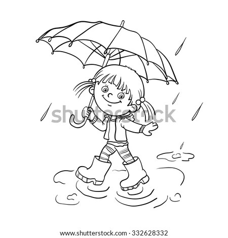 Coloring Page Outline Cartoon Joyful Girl Stock Vector