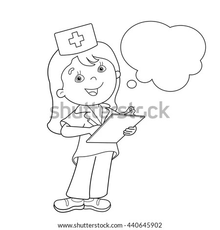 Coloring Page Outline Cartoon Doctor Profession Stock