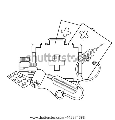 Coloring Page Outline Medical Instruments Profession Stock