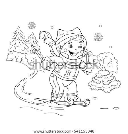 Coloring Page Outline Cartoon Boy Riding Stock Vector