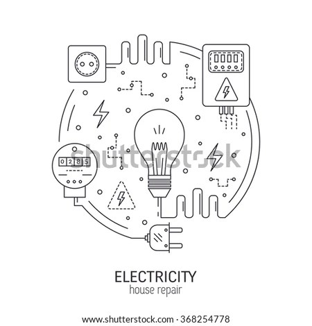 Electricity Energy Round Concept Made Modern Stockvector