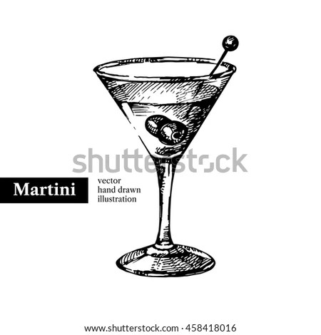 Cocktail Manhattan On Black Board Ingredients Stock Vector