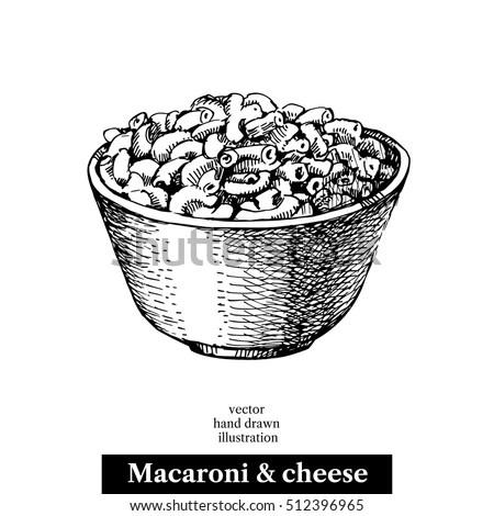 Hand Drawn Sketch Homemade Macaroni Cheese Stock Vector