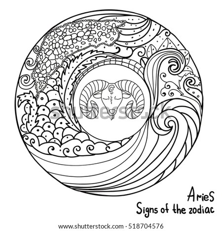 Aries Hand Horoscope Sign Vectorized Stock Images, Royalty