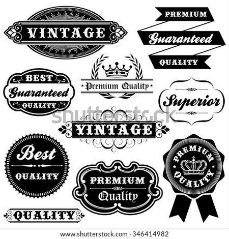 Collection Calligraphic Elements Labels Premium Best Stock