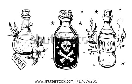 Bottles Potions Poison Love Potion Hand Stock Vector